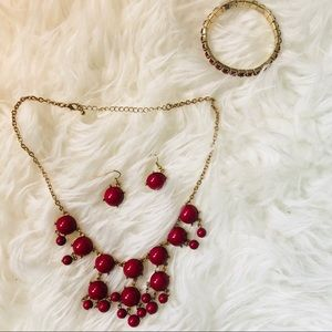 Charming Charlie Red Jewelry Set